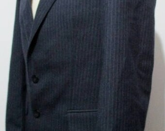 "70s Vintage Mens Blue Pinstripe Blazer MEDIUM 40"" (38-40) Retro Sport Jacket - Polycotton ---Quality Vintage Menswear---"