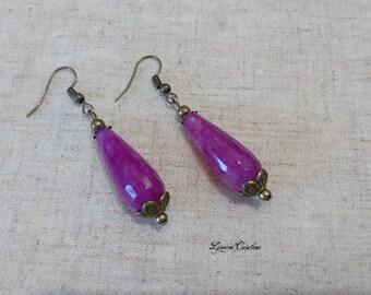 Bronze earrings drops jade raspberry, ear cuff, jewelry, women, women earrings