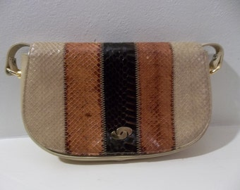 Snakeskin Purse w/ Leather, Gold fasteners - Coret 1980s Vintage