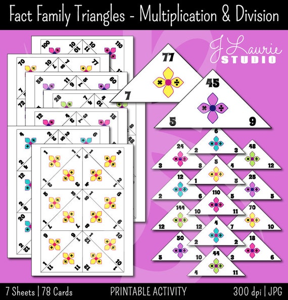 Fact Family Traingles Multiplication Division Math