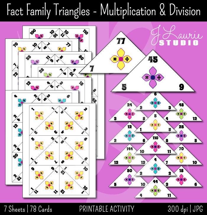 Fact Family Traingles-Multiplication-Division-Math