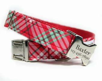 Plaid Dog Collar, Red and green Check, Personalized Plaid Collar - Jolly Plaid