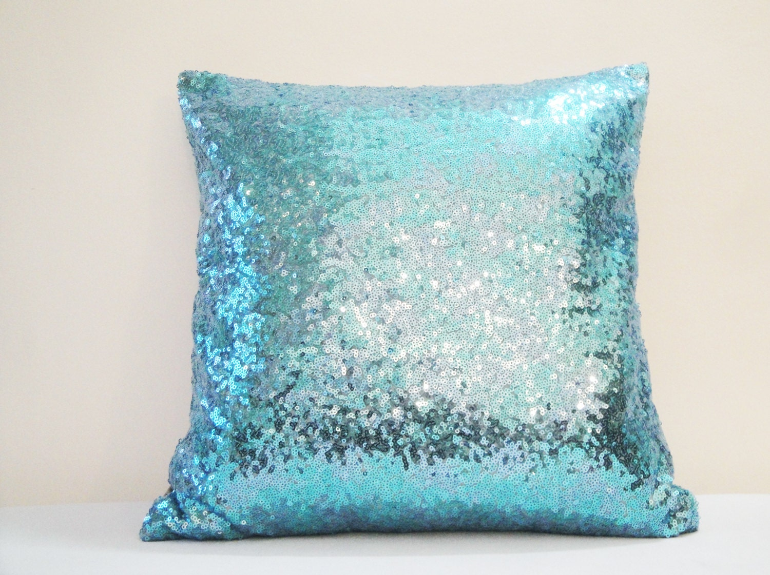 Shiny Turquoise Blue Pillow Cover Holiday Decor Sequin