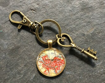 Pittsburgh Keychain Bronze with Ring Swivel Clasp and Key  Pennsylvania Vintage Map