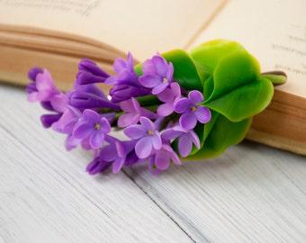 Purple flowers hair barrettes Spring wedding hair flowers Bridal hair pieces Wedding hair accessories Purple lilac flower Hair grips Syringa