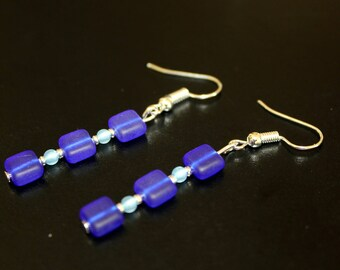 Blue Sapphire Crystal Earrings