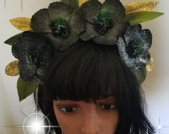 Black, Black flower crown, Tiki, Tiki crown, Tiki bar, Tiki Oasis, Black hibiscus, Hibiscus, Hibiscus crown. hawaii
