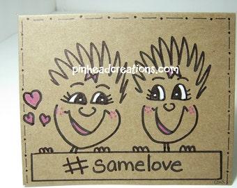 "Greeting Card PinHead Happy Face ""#samelove"""