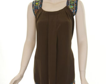 Brown hand beaded tank