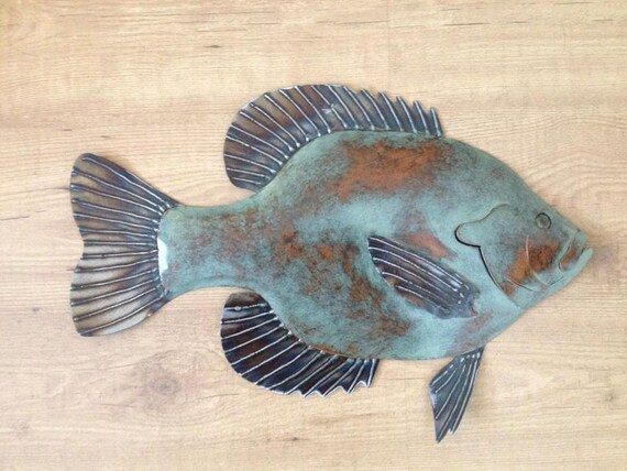 Bluegille Sunfish 20in metal fish Art wall sculpture Cottage Lake Cabin