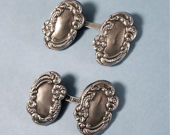 Art Nouveau Edwardian Antique Sterling Repoussé Cufflinks (No 1442)
