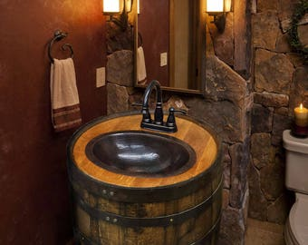 Whiskey barrel sink hammered copper rustic antique bathroom for Man cave bathroom sink