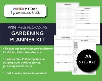 Printable A5 Filofax Garden Planner - Gardening Planner Kit for Filofax and Kikki K planners
