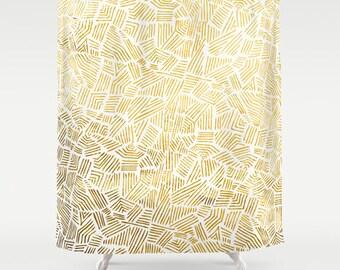 Inca Gold Sun Shower Curtain  – Minimal Tribal Design