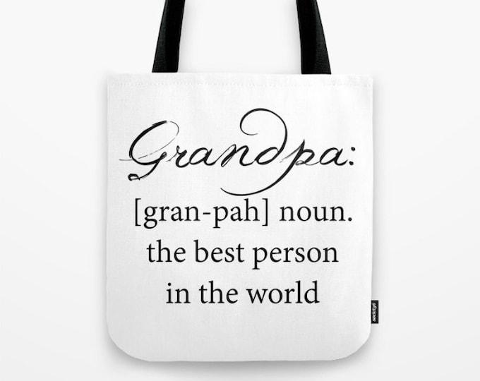 Grandpa Tote Bag - Carry All Tote Bag - Beach Bag - Book Bag - Grandpa Definition Tote Bag - Made to Order