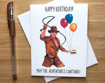 Cute Harrison Ford Birthday Card, 80s Pop Culture Movies, Funny Birthday Card, Digital Birthday Card, Handmade Birthday Card for Him Her