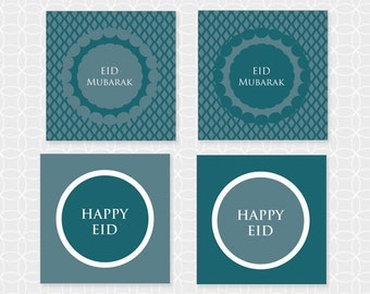 "DIY EID Mubarak 2"" Party Circles. Squares - Instant Download - blue, diamonds, party decorations, party theme"