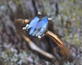 Teal Blue Diamond Ring--14K Yellow Gold Twig Ring--Rough Cut Diamond--14K White Gold Prong Set Diamond--Pear Shaped Diamond--Engagement Ring