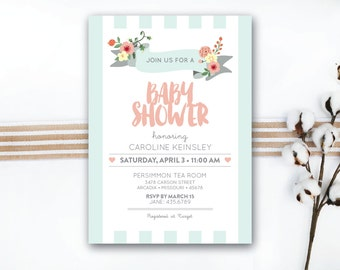 INSTANT DOWNLOAD baby shower invitation / baby girl shower / floral baby shower / girly baby shower / floral invitation / DIY invitation