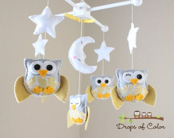 "Baby Crib Mobile - Baby Mobile - Nursery Decor Owl Mobile - Yellow and Gray Owls ""Five Owls in the night"" (You can pick your colors)"