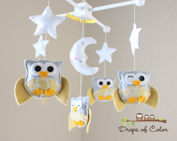 baby crib mobile baby mobile nursery decor owl mobile. Black Bedroom Furniture Sets. Home Design Ideas