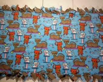 Cat's Meow fleece tie blanket