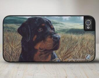 """Rottweiler Phone Case, Rottweiler iPhone   Case, Rottweiler Dog iPhone Case, Dog iPhone Protective Case """"Field Day""""  50-5341"""