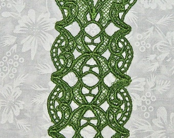 Beautiful Green Ribbon Blossom Bookmark, Lace, Machine Embroidery
