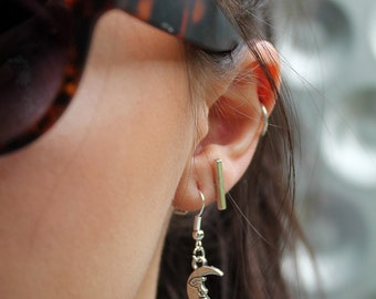 Moon Face Dangle Earrings