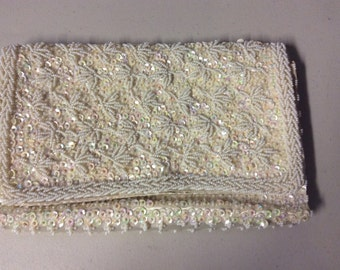 Bon Soir Clutch Purse Ivory Beaded  Bridal or Evening Clutch Purse Vintage from the 1960's