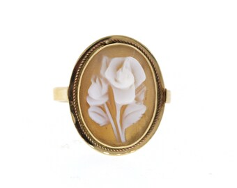 Vintage Cameo Ring, Yellow Gold Rose Cameo Ring,  Vintage Pink Shell Cameo Ring
