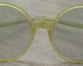 Large Round Yellow Sunglasses made in France 1960s