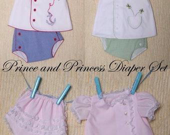 Prince and Princess Diaper Set Pattern sz. NB - 12 mo.