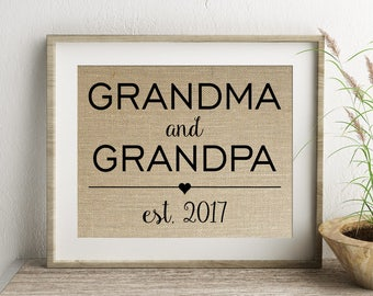 Grandma and Grandpa Established Burlap Print | Personalized Grandparents Gift | Pregnancy Announcement | Grandmother Grandfather Gift