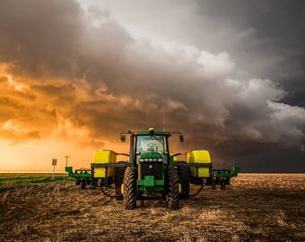 John Deere Photography Print - Fine Art Picture of John Deere Tractor and Storm in Golden Light in Western Kansas Farm Home Decor Artwork