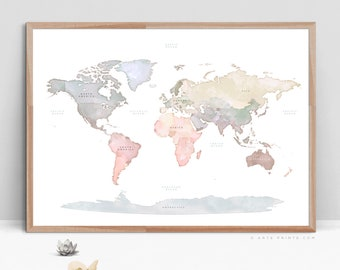 World map print etsy world map wall art gumiabroncs Image collections