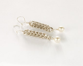 Sterling Silver Chainmaille Full Persian Earrings with Swarovski Pearl