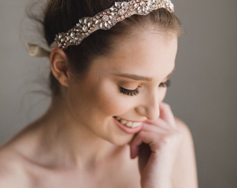 Rose Gold Bridal Headband | Rose Gold Crystal Headband | Rose Gold Bridesmaid Headband | Bridal Headband | Rose Gold Azalea Headband