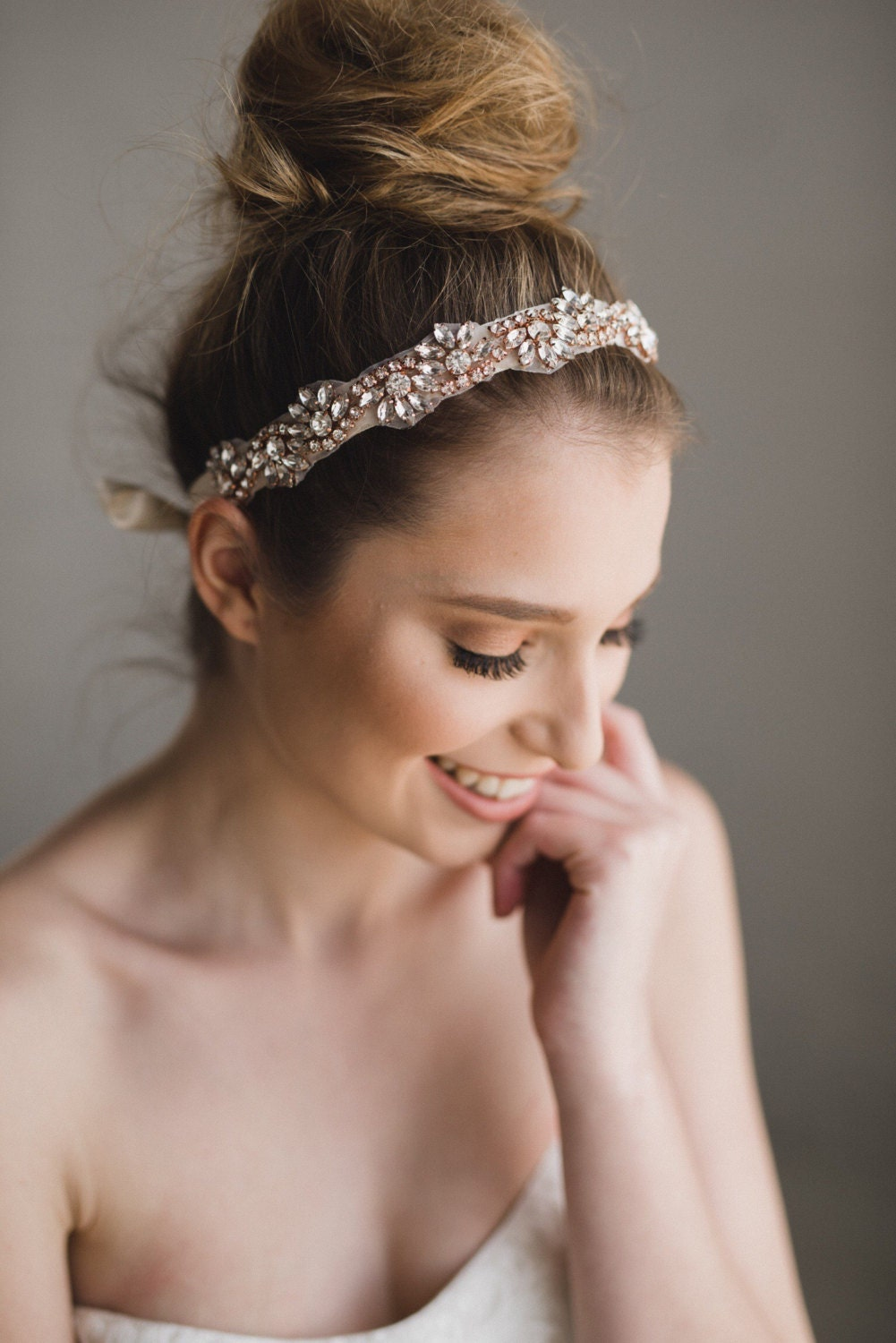 rose gold bridal headband rose gold crystal headband rose