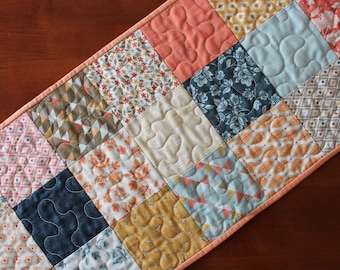 Quilted Table Runner, Modern Table Runner, Persimmon, Navy Blue Orange Brown Yellow, Navy Blue Table Runner, Persimmon Table Topper, Moda