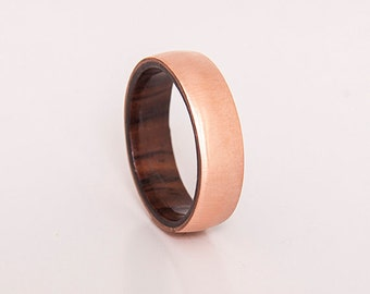 copper ring with wood // mens copper ring // wood ring // wood wedding band // wooden ring cocobolo ring