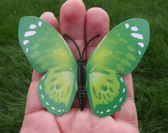 1 BUTTERFLY DECORATION, REFRIGERATOR DECOR.  GREEN MAGNETIC MULTI COLOR. 8.5 X 6.2 cm. NO. 6