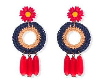 Hippie Earrings red and blue handmade knitted Hoop and daisy statement earrings original art jewelry