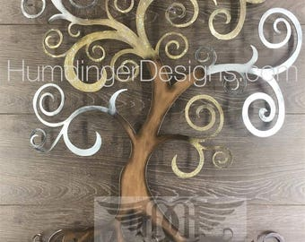Tree of Life Curly Tree Wall Decor Wall Art Gold and Silver Sparkle