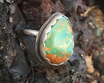Simple Pilot Mountain Turquoise Handmade Sterling Silver Ring. Size 9