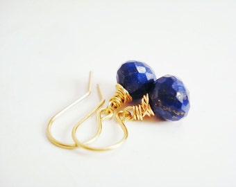 Dainty Lapis Lazuli Earrings, Gold Lapis Earrings, Dark Blue Earrings, Gold Dangle Earrings, Royal Blue Earrings, Wire Wrapped Drop Earring