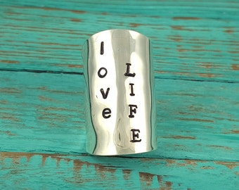 Hand Stamped Spoon Ring - Hand Stamped Ring - Silver Stamped Ring - Statement Ring - Love Life Ring - Personalized Ring - Stamped Jewelry
