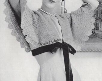 Dressy Angel Butterfly Wings, Cape Bolero, Shoulderette, Shrug Wrap, Vintage Crochet Pattern, INSTANT DOWNLOAD PDF
