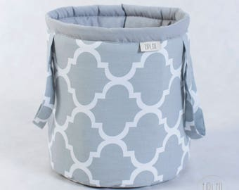 Basket for toys, grey marocco, cotton