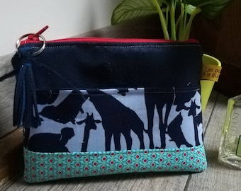 """""""Silhouettes of animals"""" suede pouch"""
